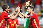 Spain's Koke Resurreccion (l) and David Silva celebrate goal in presence of Liechtenstein's Peter Jehle dejected during FIFA World Cup 2018 Qualifying Round match. September 5,2016.(ALTERPHOTOS/Acero)