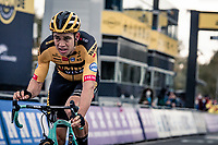 Wout van Aert (BEL/Jumbo - Visma) crossing the finish line after having lost the sprint for victory against Mathieu Van der Poel<br /> <br /> 104th Ronde van Vlaanderen 2020 (1.UWT)<br /> 1 day race from Antwerpen to Oudenaarde (BEL/243km) <br /> <br /> ©kramon