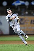 Great Lakes Loons third baseman Paul Hoenecke (28) throws to first during a game against the West Michigan Whitecaps on June 5, 2014 at Fifth Third Ballpark in Comstock Park, Michigan.  West Michigan defeated Great Lakes 6-2.  (Mike Janes/Four Seam Images)