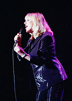 File  July 5, 1997, Montreal , Qc, Canada<br /> <br /> Singer Marianne Faithfull in concert during the 1997 Montreal Jazz Festival.<br /> She became famous at 19 when she sang ``As tears goes by`` composed by her (then) boyfriend Mick Jagger.