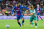 Nelson Cabral Semedo of FC Barcelona (L) fights for the ball with Takashi Inui of SD Eibar (R) during the La Liga 2017-18 match between FC Barcelona and SD Eibar at Camp Nou on 19 September 2017 in Barcelona, Spain. Photo by Vicens Gimenez / Power Sport Images