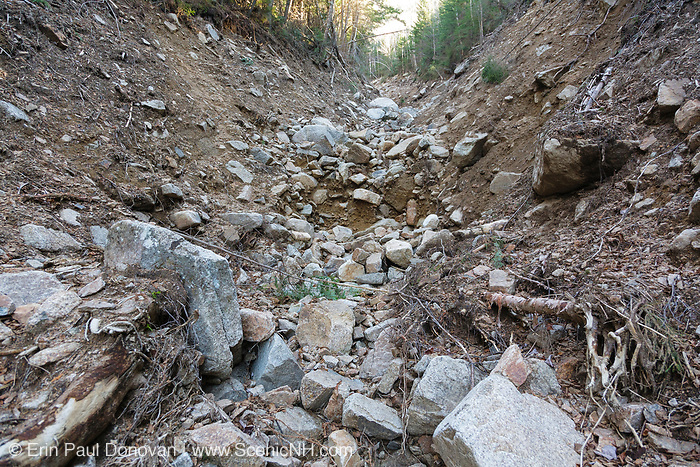 Landslide path on the side of the Hancock Mountain Range in the Pemigewasset Wilderness of Lincoln, New Hampshire in November 2011. Heavy rains from Tropical Storm Irene in 2011 caused an old landslide that was in the process of being natural regenerated to slide again. The new landslide looks to follow the track of the old one And the natural process of regeneration must start all over.