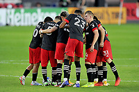 WASHINGTON, DC - NOVEMBER 8: D.C. United getting in the huddle during a game between Montreal Impact and D.C. United at Audi Field on November 8, 2020 in Washington, DC.