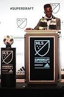 Philadelphia, PA - Thursday January 19, 2018: Edward Opoku during the 2018 MLS SuperDraft at the Pennsylvania Convention Center.
