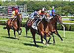 Shore Runner (no. 2), ridden by Kendrick Carmouche and trained by Joe Sharp, wins the 12th running of the Troy Stakes for three year olds on August 22, 2015 at Saratoga Race Course in Saratoga Springs, New York. (Bob Mayberger/Eclipse Sportswire)
