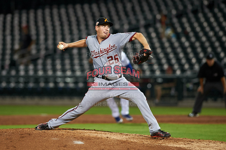 Salt River Rafters pitcher John Simms (26) delivers a pitch during an Arizona Fall League game against the Mesa Solar Sox on October 23, 2015 at Sloan Park in Mesa, Arizona.  Salt River defeated Mesa 5-1.  (Mike Janes/Four Seam Images)