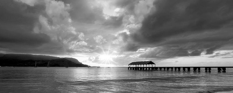 Hanalei Bay Pier at Suinset. Kauai, Hawaii.