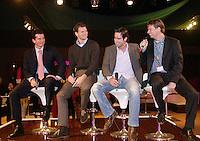 25-2-06, Netherlands, tennis, Rotterdam, ABNAMROWTT, Jan Siemerink(r) intervieuws Raemon Sluiter, Sjeng Schalken and tournament director Richard Krajicek