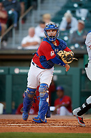 Buffalo Bisons catcher Reese McGuire (3) throws down to third base after a strikeout during a game against the Syracuse Chiefs on July 6, 2018 at Coca-Cola Field in Buffalo, New York.  Buffalo defeated Syracuse 6-4.  (Mike Janes/Four Seam Images)