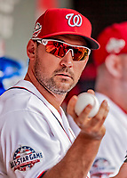 26 September 2018: Washington Nationals first baseman Ryan Zimmerman awaits the start of play in the dugout prior to a game against the Miami Marlins at Nationals Park in Washington, DC. The Nationals defeated the visiting Marlins 9-3, closing out Washington's 2018 home season. Mandatory Credit: Ed Wolfstein Photo *** RAW (NEF) Image File Available ***