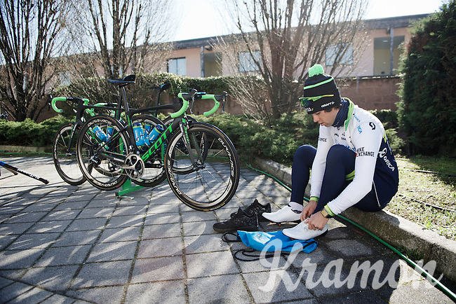 Michael Matthews (AUS/Orica-GreenEDGE) getting ready for a training/coffee ride with Team Orica-GreenEDGE at Monza (race circuit park) 1 day before Milan-San Remo