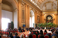 """Pope Francis leads the meeting, """"Faith and Science: Towards COP26,"""" with religious leaders in the Apostolic Palace at the Vatican Oct. 4, 2021. The meeting was part of the run-up to the U.N. Climate Change Conference, called COP26, in Glasgow, Scotland, Oct. 31 to Nov. 12, 2021."""