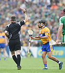 Referee James Owens sends off David Reidy of Clare during their Munster championship game in Ennis. Photograph by John Kelly.