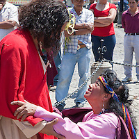 Jesus Meets the Samaritan Woman at the Well.  (John 4:1-30). Palm Sunday Re-enactment of events in the life of Jesus, by the group called Luna LLena (Full Moon), a group of volunteers in Antigua, Guatemala.