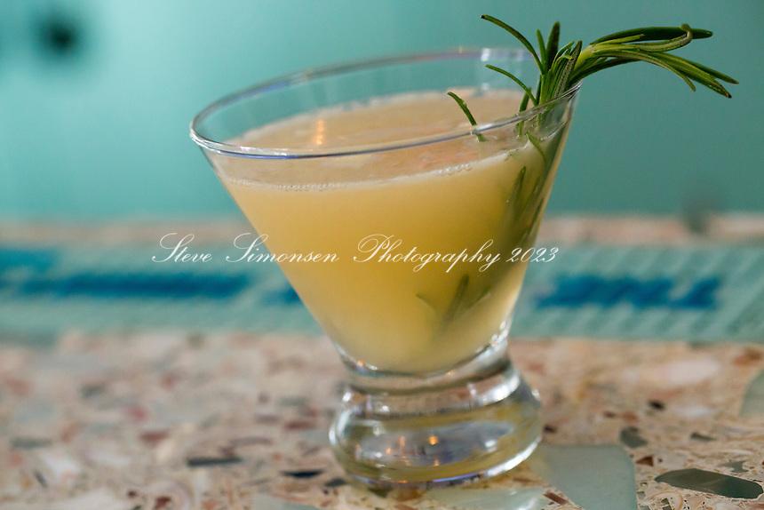 The Longboard Restaurant<br /> specialty drink with rosemary<br /> Cruz Bay, St. John<br /> Virgin Islands