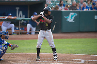 Great Falls Voyagers third baseman Bryce Bush (8) at bat during a Pioneer League against the Ogden Raptors at Lindquist Field on August 23, 2018 in Ogden, Utah. The Ogden Raptors defeated the Great Falls Voyagers by a score of 8-7. (Zachary Lucy/Four Seam Images)