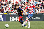 Granada's Ruben Perez (r) and FC Barcelona's Leo Messi during La Liga match. May 14,2016. (ALTERPHOTOS/Acero)