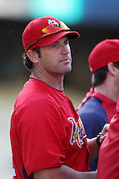 St.Louis Cardinals Manager Mike Matheny #22 before a game against the Los Angeles Dodgers at Dodger Stadium on May 18, 2012 in Los Angeles,California. Los Angeles defeated St.Louis 6-5.(Larry Goren/Four Seam Images)