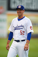 Chattanooga Lookouts first baseman Dalton Hicks (52) during warmups before a game against the Jacksonville Suns on April 30, 2015 at AT&T Field in Chattanooga, Tennessee.  Jacksonville defeated Chattanooga 6-4.  (Mike Janes/Four Seam Images)