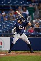 New Hampshire Fisher Cats right fielder Connor Panas (15) at bat during a game against the Trenton Thunder on August 19, 2018 at ARM & HAMMER Park in Trenton, New Jersey.  New Hampshire defeated Trenton 12-1.  (Mike Janes/Four Seam Images)