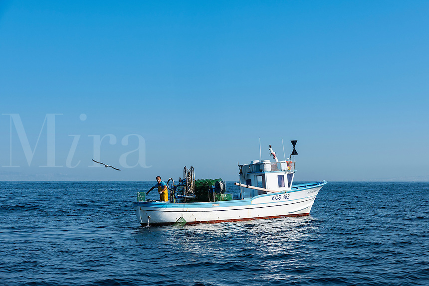Commercial fisherman checks his squid traps, Sorrento, Italy