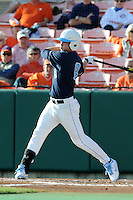 Left Fielder Parks Jordan #8 of the North Carolina Tar Heels swings at a pitch during  a game against the Clemson Tigers at Doug Kingsmore Stadium on March 9, 2012 in Clemson, South Carolina. The Tar Heels defeated the Tigers 4-3. Tony Farlow/Four Seam Images.