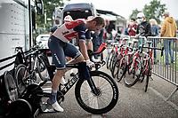 Edward Theuns (BEL/Trek-Segafredo) warming up pre-stage<br /> <br /> Stage 5 (ITT): Time Trial from Changé to Laval Espace Mayenne (27.2km)<br /> 108th Tour de France 2021 (2.UWT)<br /> <br /> ©kramon