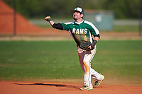 Farmingdale State Rams second baseman Anthony Gigante (4) throws to first base during the second game of a doubleheader against the FDU-Florham Devils on March 15, 2017 at Lake Myrtle Park in Auburndale, Florida.  FDU-Florham defeated Farmingdale 8-4.  (Mike Janes/Four Seam Images)