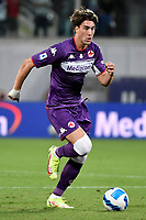 Dusan Vlahovic of ACF Fiorentina in action during the Serie A 2021/2022 football match between ACF Fiorentina and SSC Napoli at Artemio Franchi stadium in Florence (Italy), October 3rd, 2021. Photo Andrea Staccioli / Insidefoto