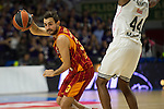 Real Madrid´s Marcus Slaughter and Galatasaray´s Arslan during 2014-15 Euroleague Basketball match between Real Madrid and Galatasaray at Palacio de los Deportes stadium in Madrid, Spain. January 08, 2015. (ALTERPHOTOS/Luis Fernandez)