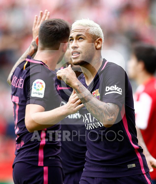 FC Barcelona's Neymar Santos Jr celebrates goal during La Liga match. September 24,2016. (ALTERPHOTOS/Acero)