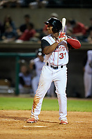 Arkansas Travelers center fielder Chuck Taylor (31) at bat during a game against the Frisco RoughRiders on May 26, 2017 at Dickey-Stephens Park in Little Rock, Arkansas.  Arkansas defeated Frisco 4-2.  (Mike Janes/Four Seam Images)