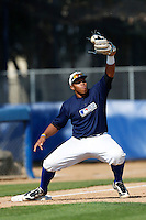 Kevin Franklin of Gahr High School in Cerritos, California participates in the Southern California scouts game for high school seniors at the Urban Youth Academy on February 9, 2013 in Compton, California. (Larry Goren/Four Seam Images)