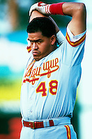 Henry Blanco of the Albuquerque Dukes during a game at Cashman Field in Las Vegas, Nevada during the 1997 season.(Larry Goren/Four Seam Images)