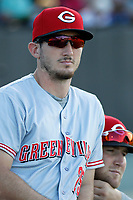 Greeneville Reds outfielder Brandt Stallings (25) in thge dugout during a game against the Burlington Royals at the Burlington Athletic Complex on July 7, 2018 in Burlington, North Carolina. Burlington defeated Greeneville 2-1. (Robert Gurganus/Four Seam Images)