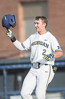 Michigan Wolverines outfielder Jonathan Engelmann (2) smiles as he crosses the plate after hitting a home run during the NCAA baseball game against the Eastern Michigan Eagles on May 16, 2017 at Ray Fisher Stadium in Ann Arbor, Michigan. Michigan defeated Eastern Michigan 12-4. (Andrew Woolley/Four Seam Images)