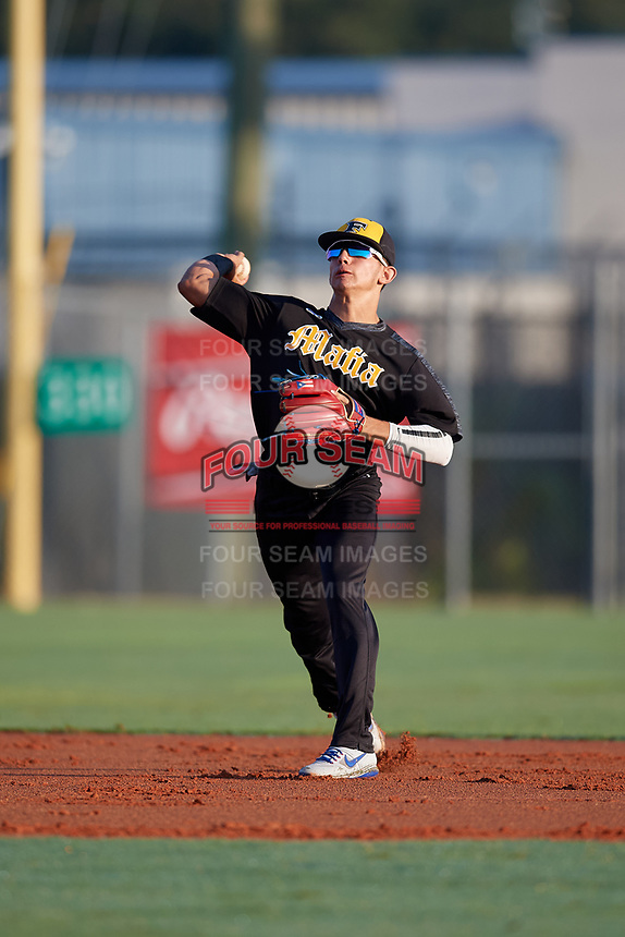 Nicolas Perez (3) during the WWBA World Championship at Lee County Player Development Complex on October 8, 2020 in Fort Myers, Florida.  Nicolas Perez, a resident of Isabela, Puerto Rico who attends BYOU Academy High School, is committed to Florida State.  (Mike Janes/Four Seam Images)