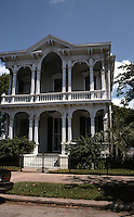Galveston:  Lemuel and Julia Burr House, 1228 Sealy St., one block north of Broadway. Bracketed-Italianate, 1876. Attributed to Nicholas J. Clayton.  Photo '96.