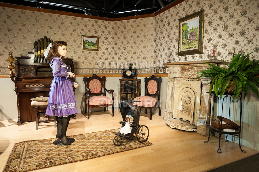 Paradise Parlor diorama, Edna Purviance, Charlie Chaplin's Leading Lady display at the Humboldt Museum, WInnemucca, Nevada