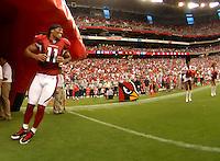 Aug 18, 2007; Glendale, AZ, USA; Arizona Cardinals wide receiver Larry Fitzgerald (11) against the Houston Texans at University of Phoenix Stadium. Mandatory Credit: Mark J. Rebilas-US PRESSWIRE Copyright © 2007 Mark J. Rebilas