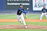 Asheville Tourists pitcher Devin Conn (1) delivers a pitch during a game against the Brooklyn Cyclones on May 8, 2021 at McCormick Field in Asheville, NC. (Tony Farlow/Four Seam Images)
