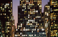 AVAILABLE FOR LICENSING FROM GETTY IMAGES:  Please go to www.gettyimages.com and search for image # a0142-000108a.<br /> <br /> Office Buildings in Lower Manhattan's Financial District Illuminated at Dusk, New York City, New York State, USA