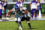 TCU Horned Frogs wide receiver Jaelan Austin (15) in action during the game between the Oklahoma State Cowboys and the TCU Horned Frogs at the Amon G. Carter Stadium in Fort Worth, Texas.