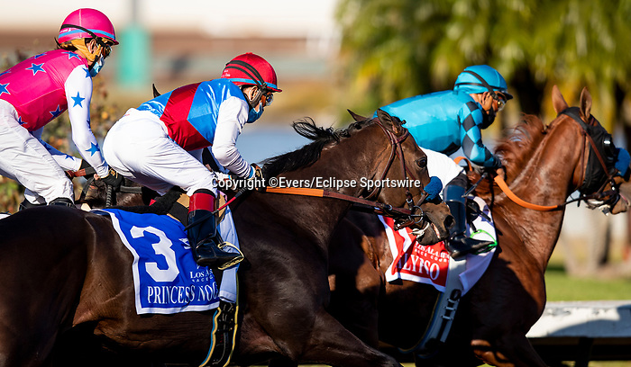 December 05, 2020: Favorite, Princess Noor with Victor Espinoza races in the Starlet Stakes before being pulled up at Los Alamitos Race Course in Cypress, California on December 05, 2020. Evers/Eclipse Sportswire/CSM