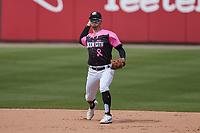 Charlotte Knights shortstop Matt Reynolds (1) on defense against the Gwinnett Stripers at Truist Field on May 9, 2021 in Charlotte, North Carolina. (Brian Westerholt/Four Seam Images)