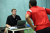 Pictured: A sports analyst with Ashley Williams. Thursday 03 July 2014<br />