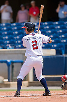 Todd Cunningham #2 of the Rome Braves at bat against the Greenville Drive at State Mutual Stadium July 25, 2010, in Rome, Georgia.  Photo by Brian Westerholt / Four Seam Images