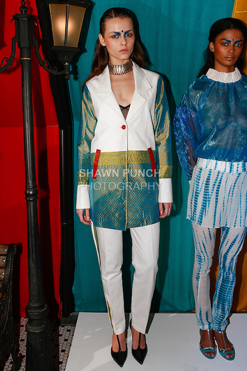 Model poses in an outfit from the Sheena Trivedi Spring Summer 2014 collection by Sheena Trivedi, at Hotel Chantelle on October 21, 2013.