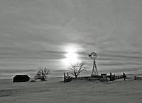 Frozen farm in Colorado