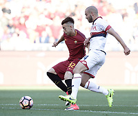 Calcio, Serie A: Roma, stadio Olimpico, 28 maggio 2017.<br /> AS Roma's Stephan El Shaarawy (r) in action with Genoa's  Davide Biraschi during the Italian Serie A football match between AS Roma and Genoa at Rome's Olympic stadium, May 28, 2017.<br /> Francesco Totti's final match with Roma after a 25-season career with his hometown club.<br /> UPDATE IMAGES PRESS/Isabella Bonotto